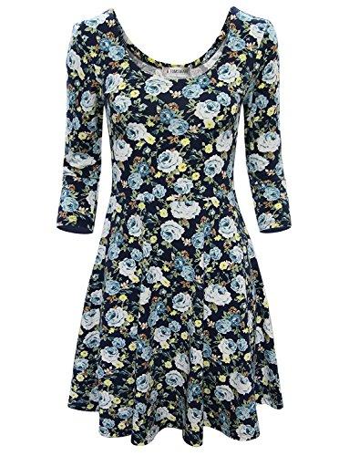 Toms Ware Women Elegant Floral Print Long Sleeve Scoop Neck Flare Dress TWCWD100NAVYUS M