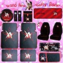 14PC Betty Boop Star Front Rear Floor Mats Seat Covers Steering Wheel Cover License Place Frame CD DVD Sun Visor Sun Shade Litter Bag Shoulder Pads Key Chain
