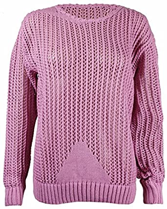 Womens New Long Sleeve Ladies Plain Mesh Net Knitted Crochet Round Scoop Neck Stretch Jumper Top Dusty Pink Size 8-10