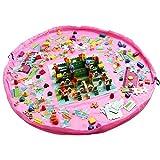 (ホームキューブ)Homecube 2in1 ストレージバッグ プレイマット 直径150cm 片付けらくらく ブロックポーチ 子供 おもちゃ 収納 おかたづけマット(ピンク)