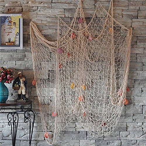 Bestag Modern style Home Decoration Nautical Decorative Fishing Net Seaside Beach Shell Party Door Wall Decoration (2mx1m, White) (Fishing Net Decor compare prices)