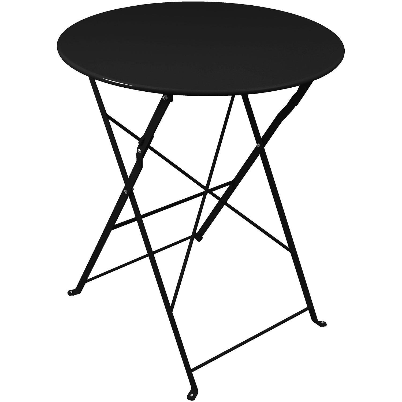 Klapptisch 60x71cm Schwarz Beistelltisch Balkontisch Terrassentisch Gartentisch