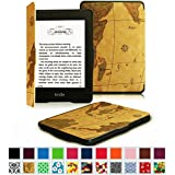 Fintie Kindle Paperwhite SmartShell Case - The Thinnest and Lightest Leather Cover for All-New Amazon Kindle Paperwhite (Fits All versions: 2012, 2013, 2014 and 2015 New 300 PPI), Map Brown