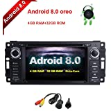 MCWAUTO for Dodge Ram Challenger Jeep Wrangler JK 6.2 Inch Android 8.0 Multi Touch Screen Car Stereo Radio DVD Player GPS Canbus Screen Mirroring Function OBD2 Octa-Core 64Bit 4G RAM 32GB ROM (Tamaño: Android 8.0)