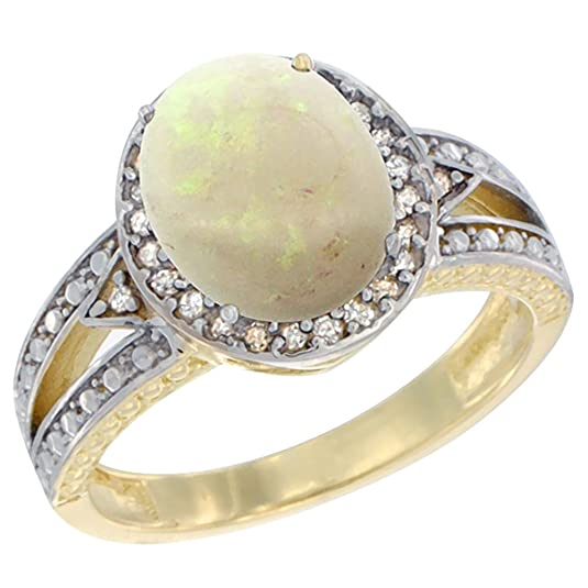 14ct Yellow Gold Natural Opal Ring Oval 9x7 mm Diamond Halo, sizes J - T