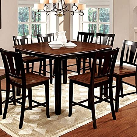 Dover Transitional Style Black & Cherry Finish 7-Piece Counter Height Dining Table Set