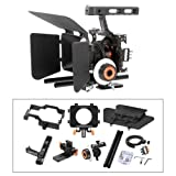 YaeCCC Video Stabilizer Kit 15mm Rod Rig Camera Cage+Follow Focus+Matte Box for Sony A7 (Orange)