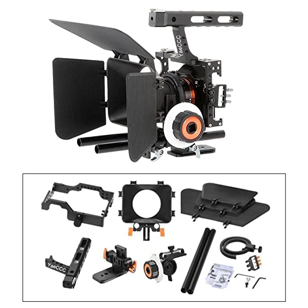 YaeCCC Video Stabilizer Kit 15mm Rod Rig Camera Cage+Follow Focus+Matte Box Compatible with Sony A7 (Orange) DSLR Video Camera Cage Mount Rig Cage Kit