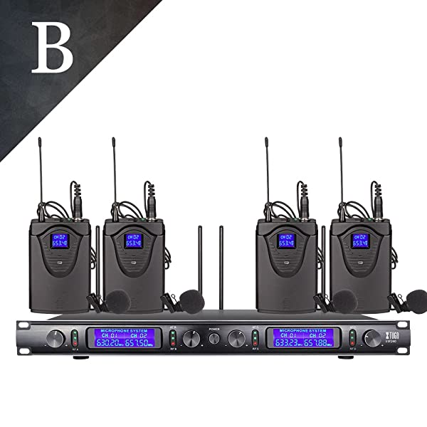 UHF Xtuga EW240 4 Channel Wireless Microphone System UHF Wireless Microphone System Metal Receiver with 4 bodapack for Stage Church Frequency B (Color: Black)