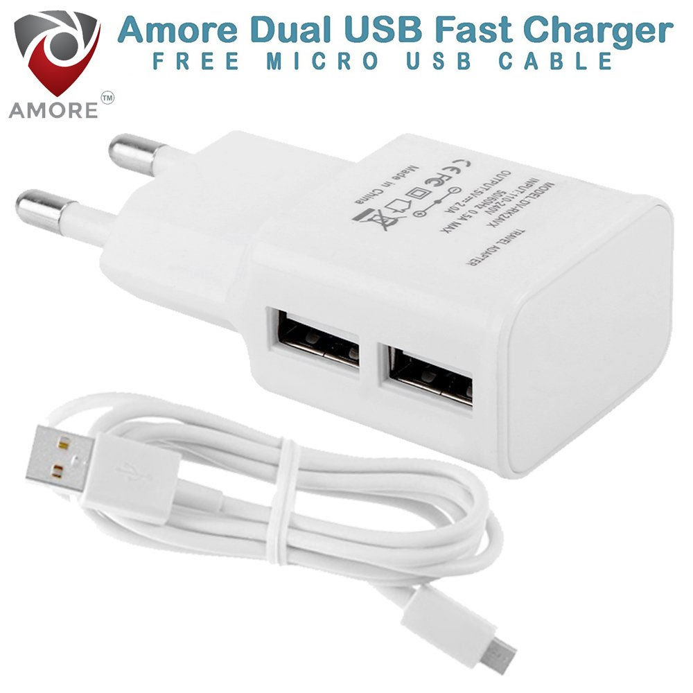 Deals on  2.1 Amp 2 USB Port Compatible Mobile Charger For Motorola, HTC, Samsung, Lenovo, Sony, LG With Cable