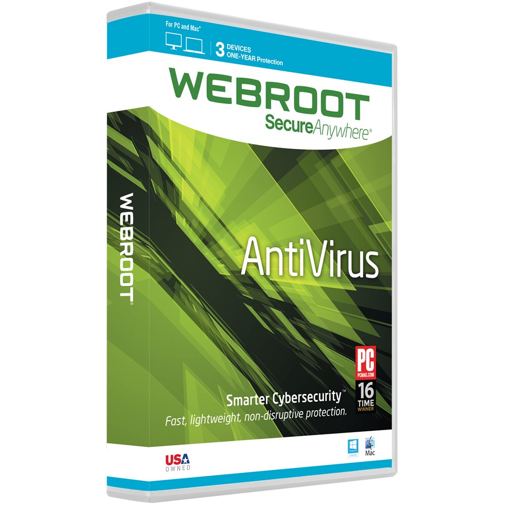 Webroot AntiVirus 2016 | 3 Devices | 1 Year | Mac