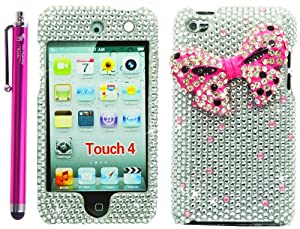 The Friendly Swede (TM) Pink Ribbon Design Silver Rhinestones 3D Bling Case for Apple iPod Touch 4 / 4G / 4th Gen - Stylus Pen + Removal Tool - Retail Packaging