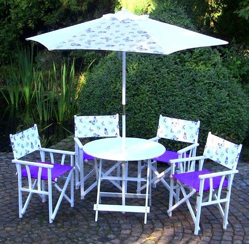 LECO 29200112 Florenz 4 Regiestühle, 1 Tisch ø 85 cm und 1 Schirm ø 2 m Dessin Schmetterling, weiß / lila