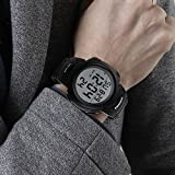 CakCity Mens Digital Sports Watch LED Screen Large Face and Waterproof Casual Backlight Watch Black