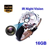 2019 16GB Watch Camera HD 1080P Infared Night Vision Mini Camera Wrist Smart (Color: 1)