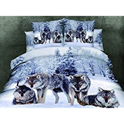 Cliab Wolf Bedding Set Queen Size Wolf Print Bedding Set Manly Bedding 100% Cotton 4pcs