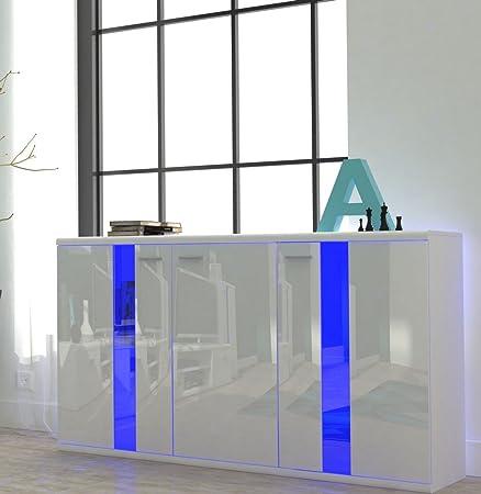 Kommode Sideboard LIFE mit beleuchtung (weiß / weiß hochglanz (fronten))