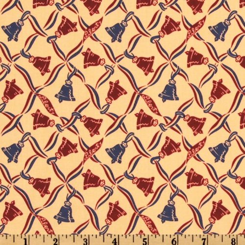 44'' Wide The Betsy Ross Collection Bells Tan Fabric By The Yard