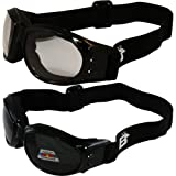 Two (2) Pairs Birdz Eagle Padded Motorcycle Goggles Airsoft Googles Comes with Clear, Polarized Smoke, Day and Night riding comfort You Should Have Googles For Any Weather Condition (Color: smoke)