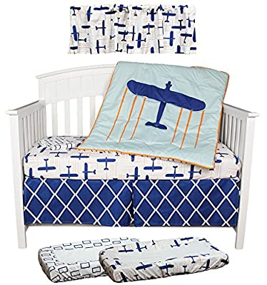 Blue Airplane Globetrotter 7 Piece Boy Crib Bedding Set by Kidsline