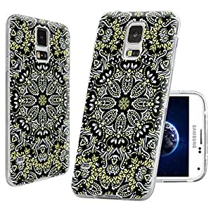 S5 Case,Samsung S5 Case,Galaxy S5 Case,ChiChiC [Floral Series] Full Protective Slim Flexible Durable Soft TPU Cases for Samsung Galaxy S5 I9600,yellow black arabesque pattern mandala floral