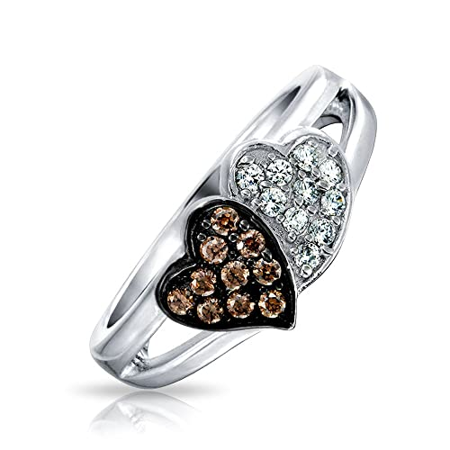 Bling Jewelry Sterling Silver Pave CZ Coffee Two Hearts Ring