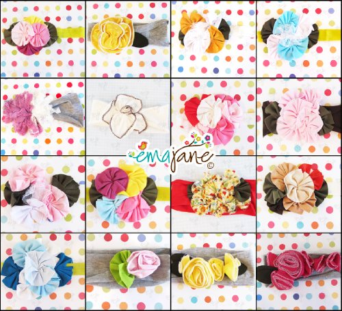 Today Sale Ema Jane - 15 Set of Shabby Chic Girl Flower Headbands - Fits Baby, Toddler, Child  Best Offer
