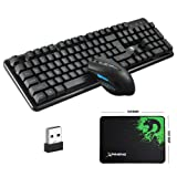 LexonElec Technology Keyboard Mouse Combo Gamer 2.4GHz Wireless 104 Keys No Backlit Pro Gaming Keypad + Cordless 2400DPI 6 Buttons Optical Mouse + Mouse Pad for Laptop PC (Color: Black)
