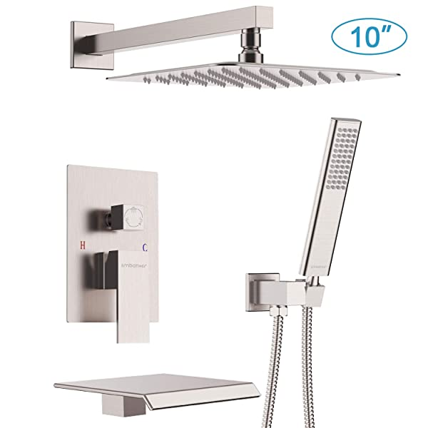 EMBATHER Shower System with Waterfall Tub Spout 10 Inches Shower Tub Faucet Set wiht Rain Showerhead and Handhled,Brushed Nickle(Contain Rough-in Valve Body and Trim) (Color: brushed nickel shower faucet with tub, Tamaño: 10 inches)