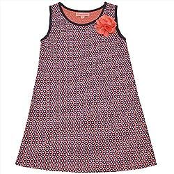 CrayonFlakes Kids Wear for Girls 100% Cotton Sleeveless Peach Flower Straight Knit Dress