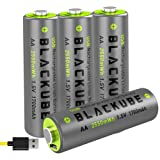 Blackube USB Rechargeable AA Batteries - 4A High Out PutA Lithium/Li-ion Battery 1.5V/1700mAH - High-Capacity Long-Lasting Power Quick Charge with 2 Hours (4-Pack AA) (Tamaño: AA-1700mAh)