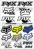 Kungfu Graphics Fox Head Micro Sponsor Logo Racing Sticker Sheet Universal (7.2x 10.2 inch), White