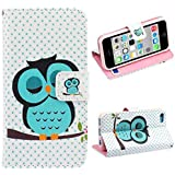 Malloom® Brand New Cute Stand Flip Leather Cover Case For iPhone 5C (Sleeping Owl)