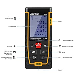Laser Distance Measure,Zamkol 196ft/60m Laser Distance Meter with LCD Backlight Screen,Handy High precision Mute Laser Measure Device, Measurement for Distance,Area and Volume,Pythagorean Modes(A) (Tamaño: A)