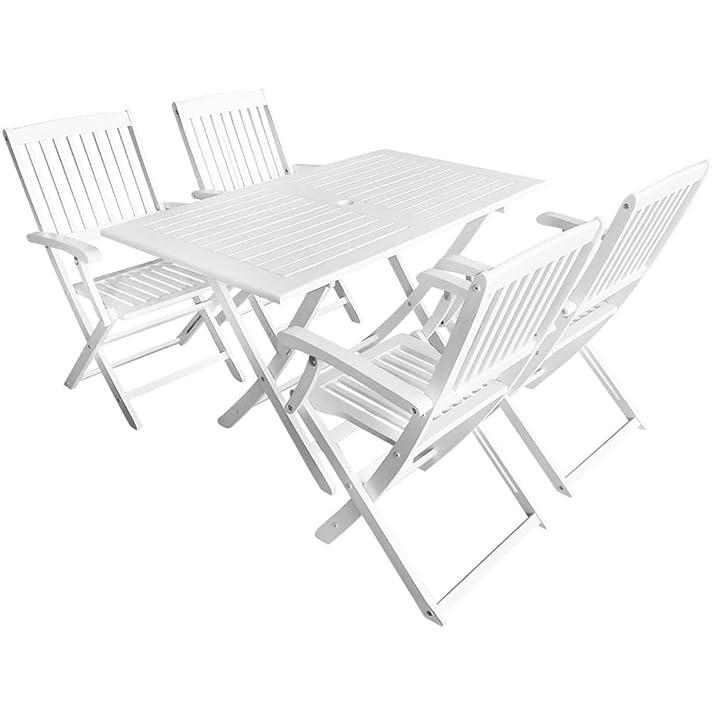 vidaXL Set Pranzo Da Giardino 5 pz Tavolo e sedie bianche pieghevoli Legno Acacia