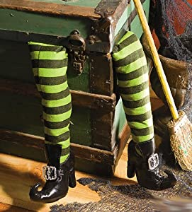 Deluxe Plush Witches Legs ~ Green & Black with Shoes ~ Great Halloween Decor