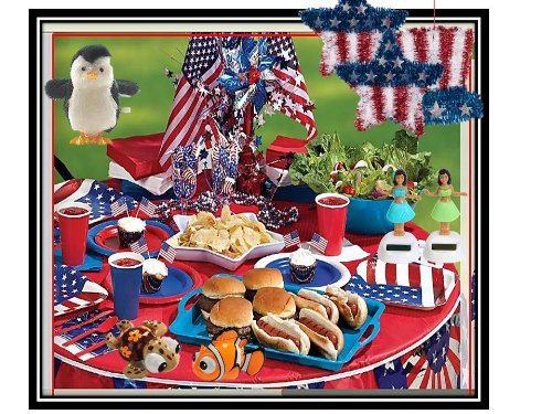~Patriotic Memorial Day Fourth of July Picnic Party Goodie Bags~Pre-filled Goody Bags~ Party Favors~ Puzzles, calendars, planner, wind-up chicks, solar monkeys, solar elephants, solar devils, solar daisies, solar sunflowers, solar bunnies, solar rabbits, school supplies, candy, ~Set of SIX (6) pre-filled bags with extra tote bag and 6 envelopes.
