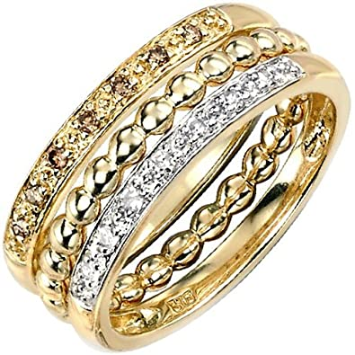 Elina H 9k Yellow Gold Brown and White Diamonds Stackable Ring 0.15ct PK