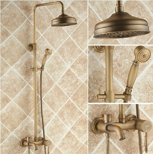 "Rozinsanitary Antique Brass Bathtub Faucet Units Mixer Tap With 8"" Shower Head And Hand Shower front-572824"