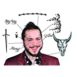 Post Malone Temporary Tattoos   Realistic   Face+Hands   MADE IN THE USA (Tamaño: Set Includes Multiple sheets at Various Sizes)