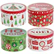 Voila Round Nesting Christmas Gift Boxes (4 Pc Set) Styles May Vary