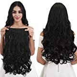 REECHO 20 1-Pack 3/4 Full Head Curly Wave Clips in on Synthetic Hair Extensions Hairpieces for Women 5 Clips 4.6 Oz per Piece - Natural Black