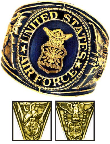 Air Force Ring - 18K Heavy Gold Electroplated Ring with Stone - Air Force Military Ring - USAF - for Military gear AirForce Uniform Veteran Ring. SIZE 13