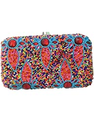 The Indian Handicraft Store Women's Clutch Mirror Work On Silver Fabric