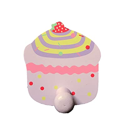 Wooden Lilac Cupcake Coat Hook / Towel Hanger / Strawberry Top