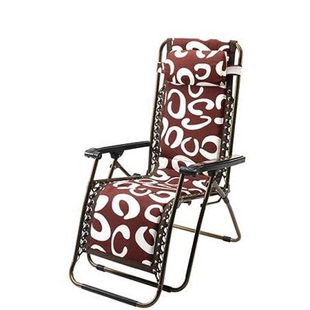 Más sillas gruesas de algodón plegable Recliner Sillas plegables de acero reforzado Silla de la tarde Tumbonas perezosas (Estilo opcional) ( Color : B )
