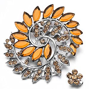 Pugster Elegant November Birthstone Topaz Crystal Flower Set Brooches And Pins