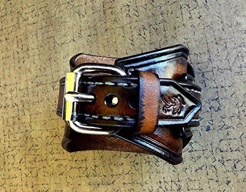 Steampunk Leather Wrist Watch, Skeleton Men's watch, Aged brown Leather Cuff, Bracelet Watch, Watch Cuff 3