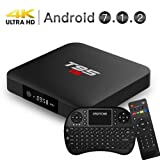 EASYTONE Android 7.1 TV Box, 2GB RAM 16GB ROM Quad Core Processor Support 3D 4K Smart Android Boxes with Mini Keyboard - Black (Color: TV Box 2GB+16GB with keyboard)