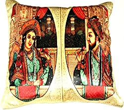 Aaiye Ghar Sajaiye fine Satin Cushion Cover with ROYAL EMBLEM- Set of 5, Multi _(16 x 16 Inch)